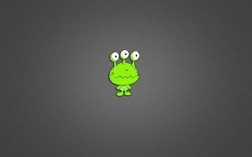 green, minimalism, grey background, alien, three eyes, dasha