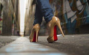 девушка, улица, ноги, асфальт, каблуки, туфли