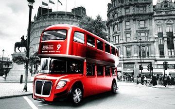 люди, лондон, англия, здания, автобус