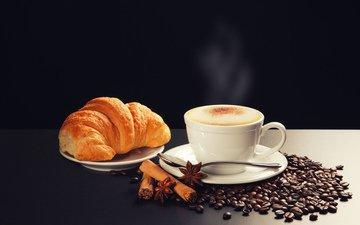 корица, зерна, кофе, чашка, пена, ложечка, круассан, блюдца, бадьян, каппучино