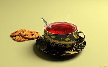 red, cup, tea, cookies, karkade