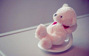 белый, мишка, игрушки, тедди, плюшевый
