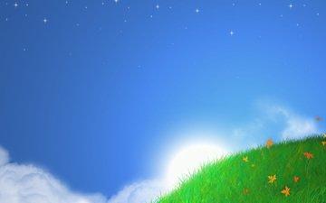 trava, nebo, solnce, stil, pejzazhi, minimalizm, hills
