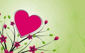 fon, cvety, oboi, serdce