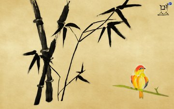bambuk, ptichka, иерглиф, рисоунок