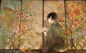 аниме, кимоно, иерогрифы, cvety, paren, pticy, terad, zak