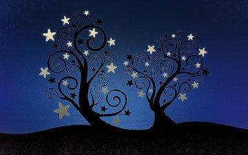 zvezdy, derevya, star listya