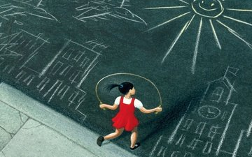 девочка, рисунки, асфальт, devochka, asfalt, risunki, skakalka, prygaet, скакалка