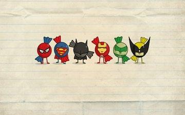 bumaga, minimalizm, personazhi, supergeroi
