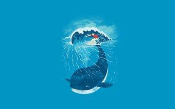 кит, еще, okean, volna, serfing, doska, serfer, minimali