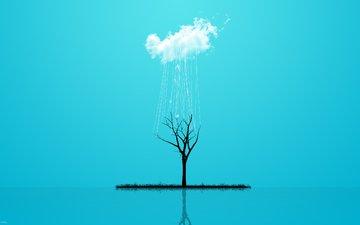 trava, derevo, stil, dozhd, oblako, minimalizm, otrazhen