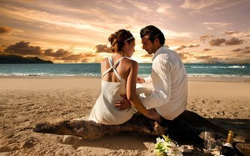 закат, девушка, пляж, любовь, романтика, мужчина, женщина, молодожены, l, muzhchina, zhenshhina, svadby, molodozheny, свадьбы