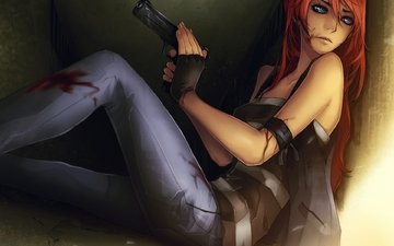 арт, девушка, oruzhie, pistolet, krov, sidya, rana, sten