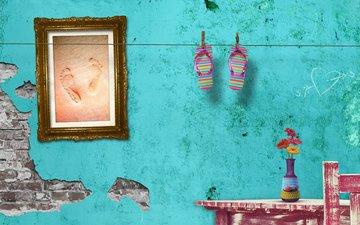 leto, cvetochki, stena, pesok, sledy, rama, slancy, karti
