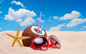 небо, облака, природа, напиток, песок, очки, звезда, кокос, соломинка, pesok, plyazh, krasnye solncezashhitnye