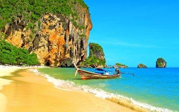 море, скала, пляж, лодка, таиланд, тропики