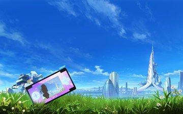 аниме, trava, nebo, zdaniya, reka, pristavka