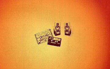 art, fon, oranzhevyj, yarkost, minimalizm, kassety, kolo