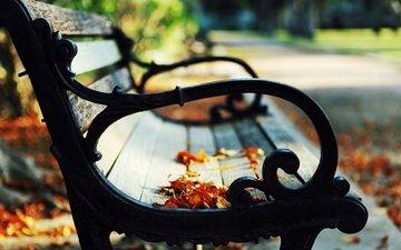 парк, listya, osen, nastroenie, lavochka