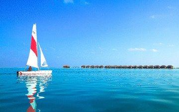 море, яхта, бунгало, тропики, мальдивы