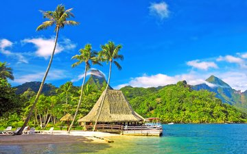 море, пляж, бунгало, тропики