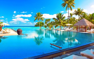 sea, pool, resort, tropics, the maldives