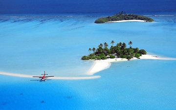 the plane, sea, island, tropics, the maldives