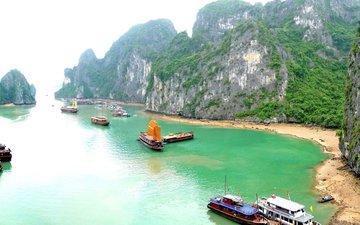 скалы, море, бухта, тропики, вьетнам
