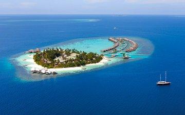 море, яхта, остров, бунгало, тропики, мальдивы
