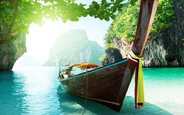 скалы, море, лодка, тропики