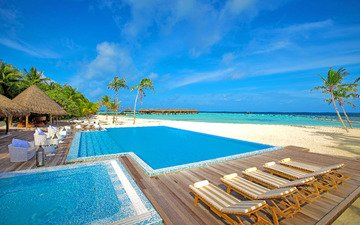 sea, beach, pool, resort, tropics, the maldives