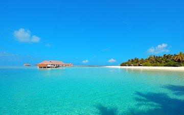 море, остров, бунгало, тропики, мальдивы