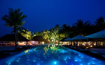 the evening, pool, resort, tropics, the maldives