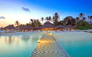 sea, beach, resort, restaurant, tropics, the maldives