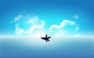 gondola, more, oblaka