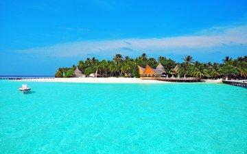 пляж, лодка, остров, тропики, мальдивы
