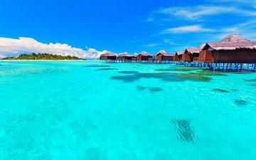 море, остров, бунгало, тропики
