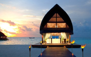 sunset, beach, bungalow, tropics, the maldives