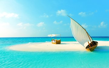 девушка, пляж, лодка, остров, тропики, мальдивы