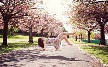 девушка, vesna, nastroenie, levitaciya