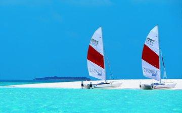 море, пляж, яхты, остров, тропики