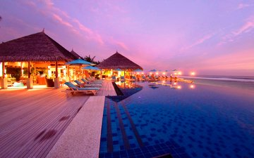 sunset, resort, tropics, the maldives