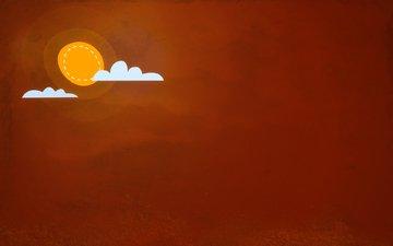 art, oboi, solnce, minimalizm, oblaka