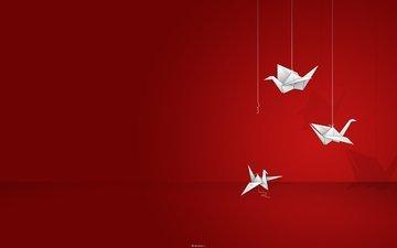 оригами, bumaga, zhuravlik