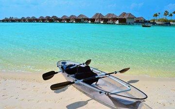 море, пляж, лодка, бунгало, тропики, мальдивы