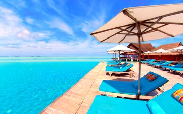 sea, resort, sunbeds, tropics, the maldives