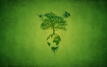 derevo, zelyonyj, pticy, planeta