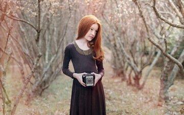 krasota, devochka, portret, fotoaparat