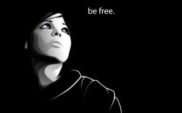 girl, lico, vektor, fraza, be free, vzglyad