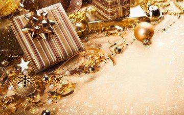 новый год, подарки, шарики, игрушки, ленты, коробки, золотистые, банты
